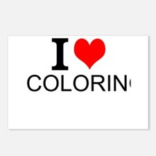 I Love Coloring Postcards (Package of 8)