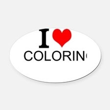 I Love Coloring Oval Car Magnet