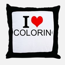 I Love Coloring Throw Pillow