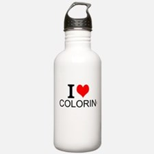 I Love Coloring Water Bottle