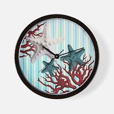 romantic seashells nautical beach Wall Clock