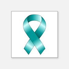 "Cute Teal ribbon Square Sticker 3"" x 3"""