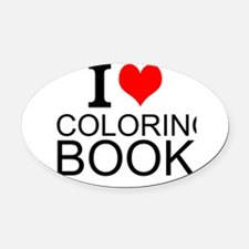 I Love Coloring Books Oval Car Magnet