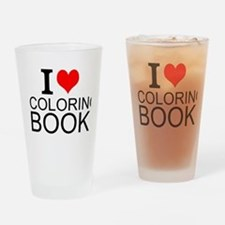 I Love Coloring Books Drinking Glass