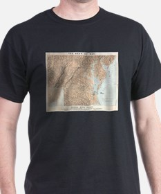 Vintage Map of The Chesapeake Bay (1861) T-Shirt