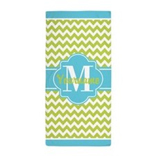 Lime Green Chic Chevron Personalized Beach Towel