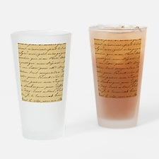 shabby chic french script  Drinking Glass