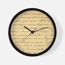 shabby chic french script  Wall Clock