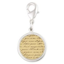 shabby chic french script  Silver Round Charm