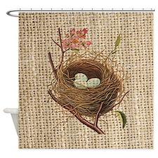 modern vintage bird nest Shower Curtain