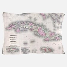 Vintage Map of Cuba (1861) Pillow Case