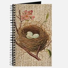 burlap modern vintage bird nest Journal