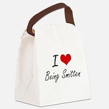 I love Being Smitten Artistic Des Canvas Lunch Bag