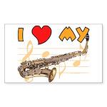 I *HEART* My Sax Rectangle Sticker