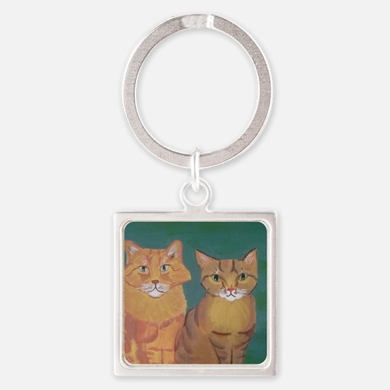 Funny Orange tabby cat Square Keychain