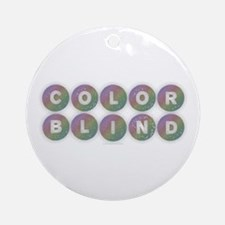 Colorblind - Rainbow Round Ornament