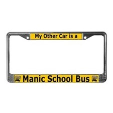 Manic SChool Bus License Plate Frame