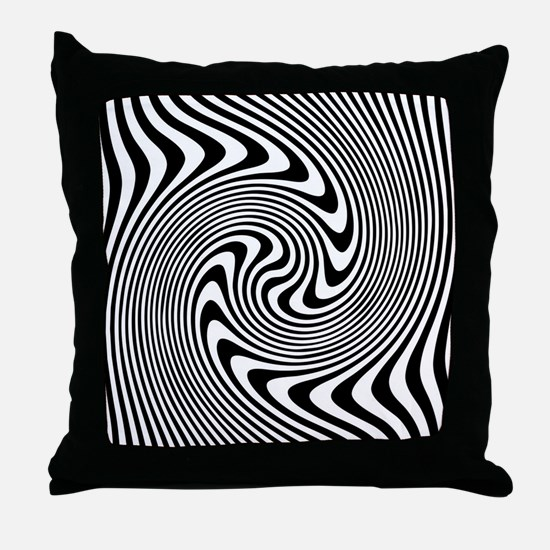 Black and White Op Art Twirl Throw Pillow