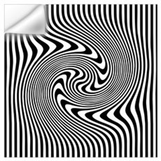 Black and White Op Art Twirl Wall Decal