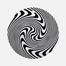 Black and White Op Art Twirl Round Ornament