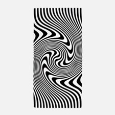Black and White Op Art Twirl Beach Towel