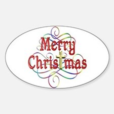 Merry Christmas Cross and Swirls Decal