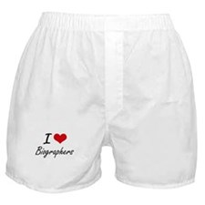 I Love Biographers Artistic Design Boxer Shorts