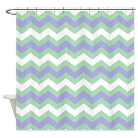 Soft Green Blue And White Chevron Shower Curtain By