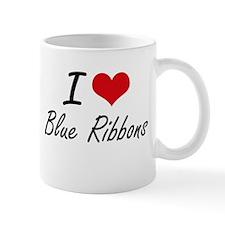 I Love Blue Ribbons Artistic Design Mugs