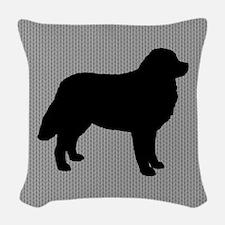 Bernese Mountian Dog Silhouette Woven Throw Pillow
