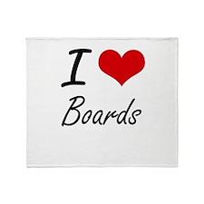 I Love Boards Artistic Design Throw Blanket