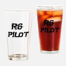 R6 Pilot Black Letters Drinking Glass