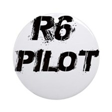 R6 Pilot Black Letters Round Ornament