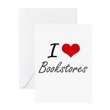 I Love Bookstores Artistic Design Greeting Cards