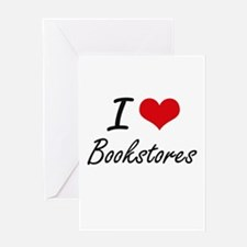 I Love Bookstores Artistic Design Greeting Cards