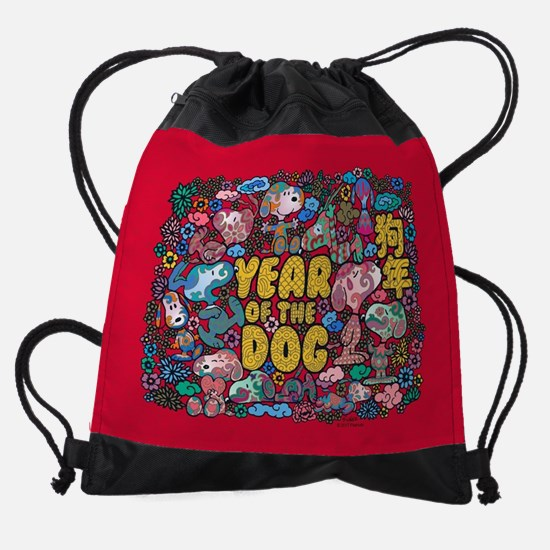 Snoopy Year of the Dog Collage Drawstring Bag