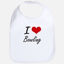 I Love Bowling Artistic Design Bib