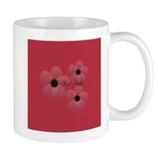 Red Satin Night Flowers Holiday Gift Mugs
