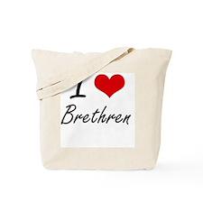 I Love Brethren Artistic Design Tote Bag