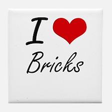 I Love Bricks Artistic Design Tile Coaster