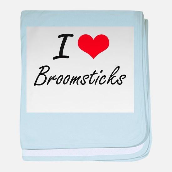 I Love Broomsticks Artistic Design baby blanket