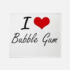 I Love Bubble Gum Artistic Design Throw Blanket