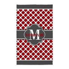 Red Quatrefoil Monogram Area Rug