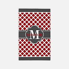 Red Quatrefoil Monogram Area Rug