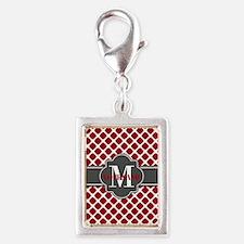 Red Quatrefoil Monogram Silver Portrait Charm