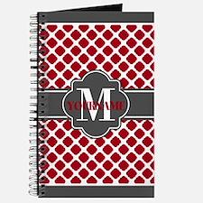 Red Quatrefoil Monogram Journal