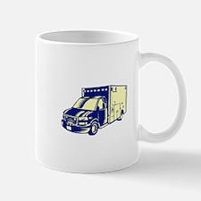 EMS Ambulance Emergency Vehicle Woodcut Mugs