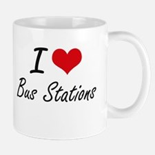 I Love Bus Stations Artistic Design Mugs