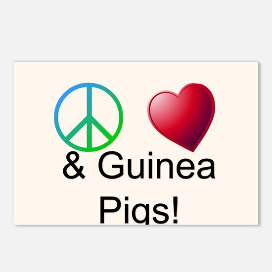 Peace Love & Guinea Pigs Postcards (Package of 8)