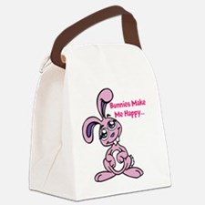 Bunnies Make me Happy Canvas Lunch Bag
